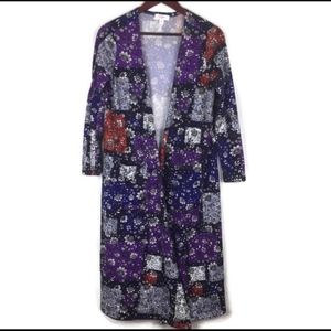 LULAROE boho purple floral Sarah kimono size M
